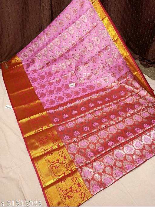 Spewim Women TanaSilk Silver Zari Full Brocket Work 6 Yards Saree With Blouse Piece(Vs Silver Zari Full Brocket (7) Pink+Red)