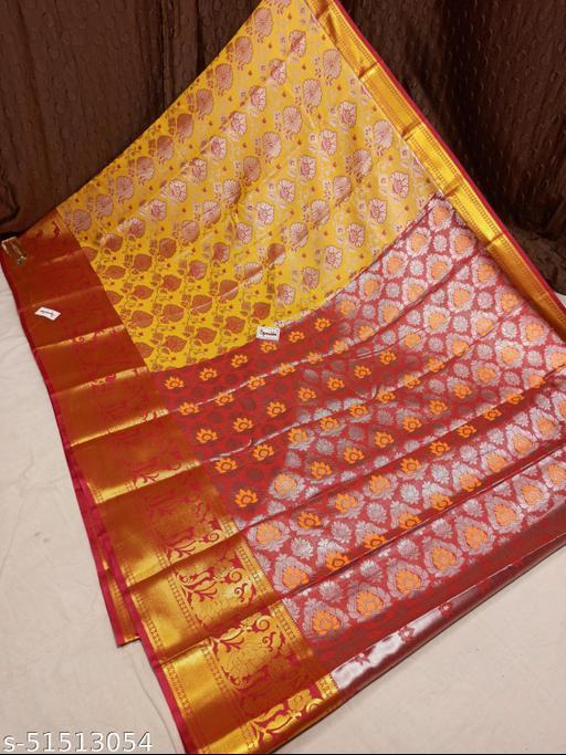 Spewim Women TanaSilk Silver Zari Full Brocket Work 6 Yards Saree With Blouse Piece(Vs Silver Zari Full Brocket (20) Yellow+Red)