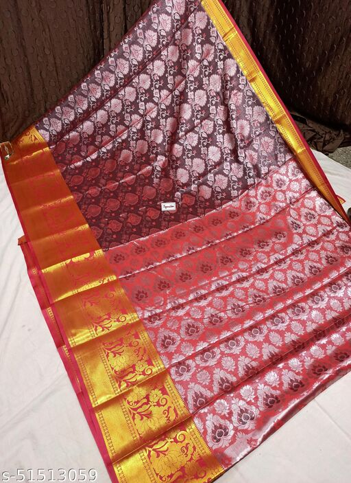 Spewim Women TanaSilk Silver Zari Full Brocket Work 6 Yards Saree With Blouse Piece(Vs Silver Zari Full Brocket (22) Maroon+Red)
