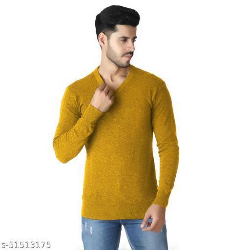 PLARD69 Round Neck Casual Men Mustard Sweater
