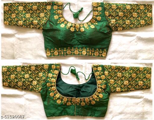 designer fentam silk embroidery work readymade blouse collection