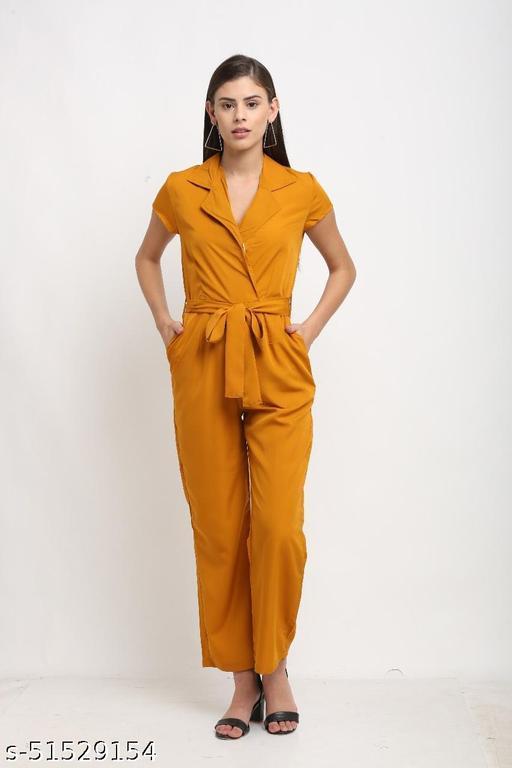 Elegant Notched Collar Jumpsuit