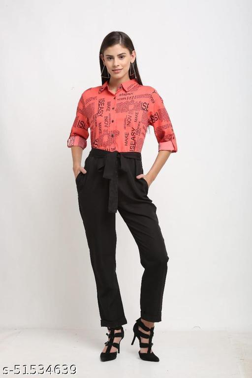 Classy Paper Print Collar Jumpsuit