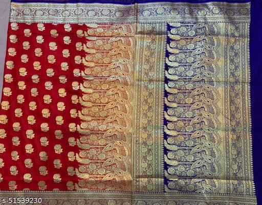 (3Red) Fabulous TrenDy Banarsi Handloom Silk Saree