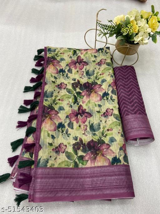 T.M Beautiful Soft Linen Sarees