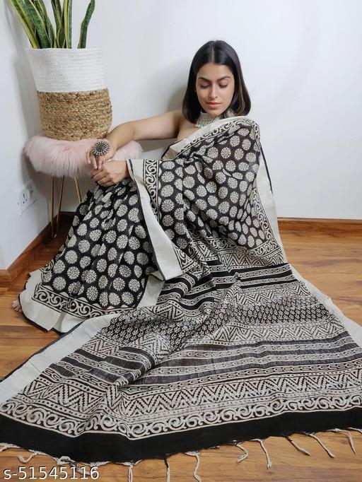 Linen Cotton Slub Sarees