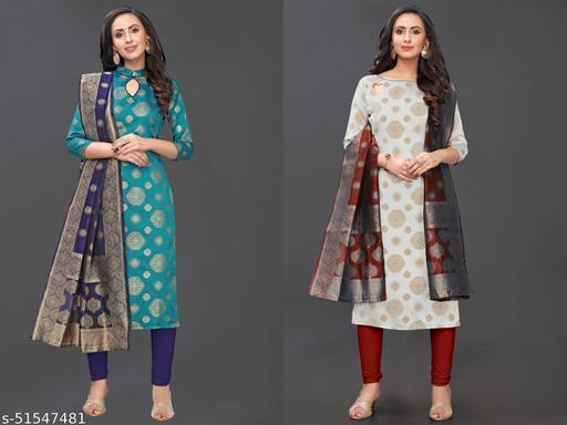 Being banarasi Woven Jacqard un-stiched dress material suits