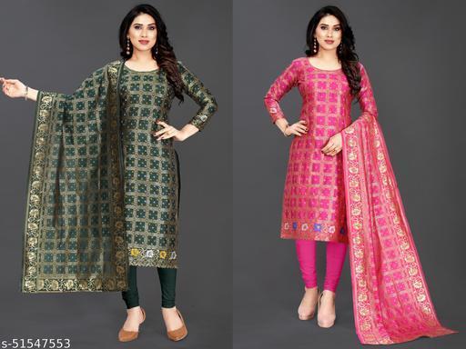 devu exports Woven Jacqard un-stiched Suits &  dress material