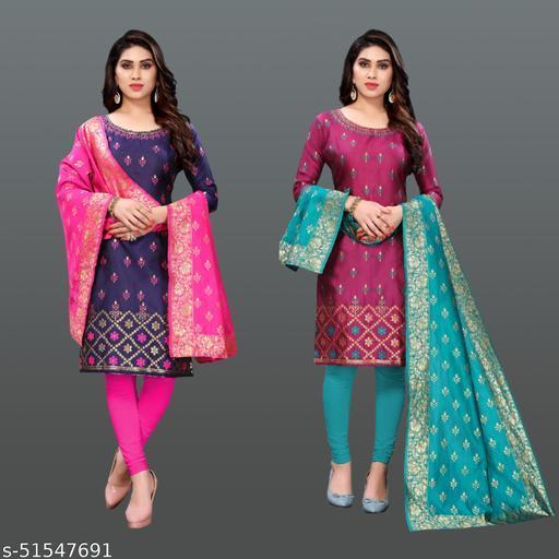 devu exports Woven Jacqard un-stiched dress material