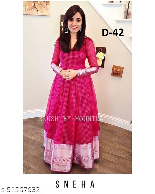 Demanding Pink Colored Party Wear Woven Pure Jeqard Gowns