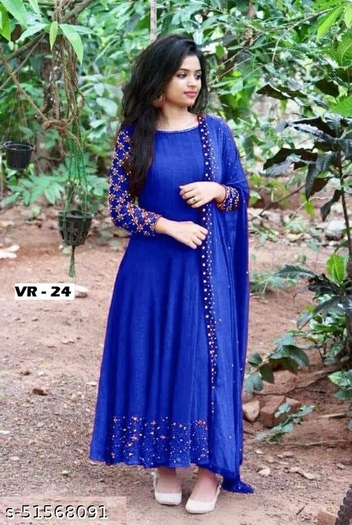 Its Royal Blue Anarkali Gown With Mirror Work Gown With Dupatta