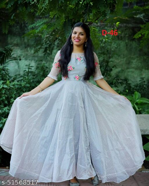 Chanderi Silk Grey  Thread Embroidered Ready-Made Pleated Gown
