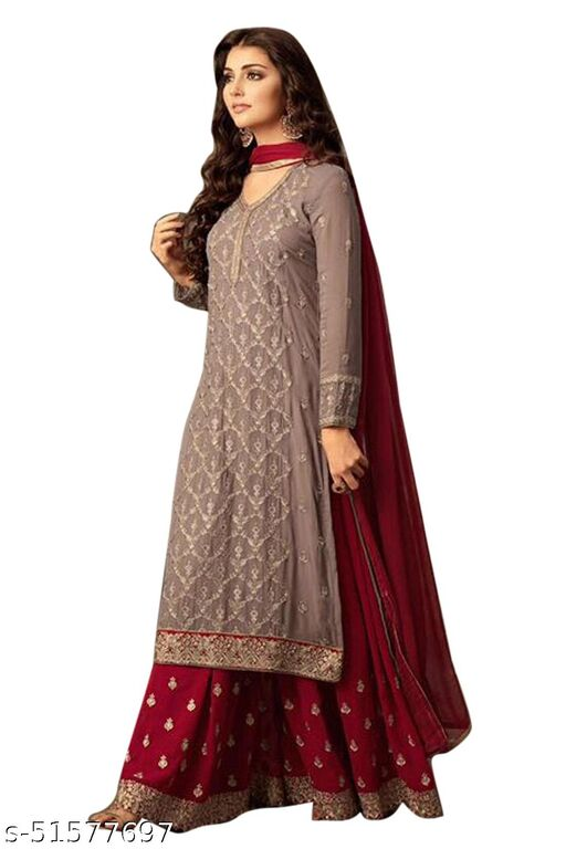 Faux Georgette Embroidered Salwar Suit Material