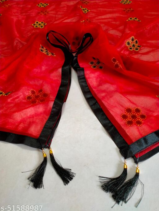 New Red Color Dupatta With Border