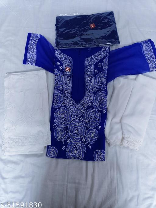 chikankari kurti Set Royal Blue