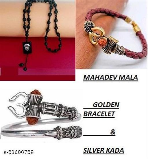 MAHADEV MALA GOLDEN BRACELET AND SILVER KADA