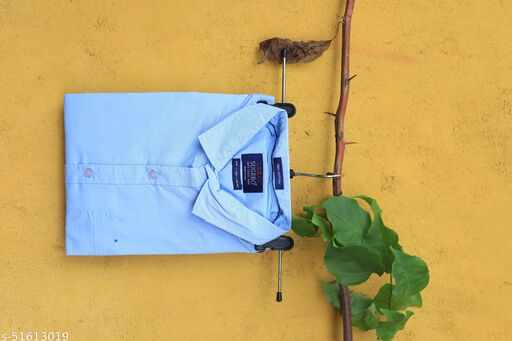 Light Blue Colored Casual Wear Solid  Slim Fit Cotton Shirt