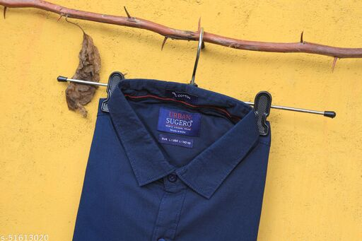 Navy Blue Colored Casual Wear Solid  Slim Fit Cotton Shirt