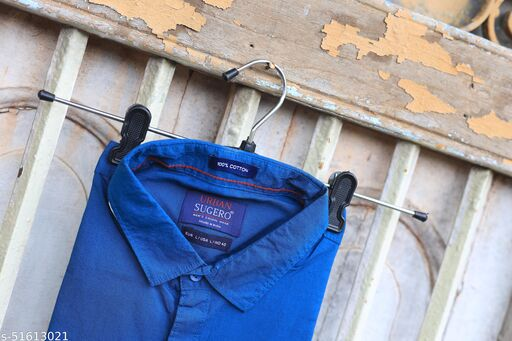 Blue Colored Casual Wear Solid  Slim Fit Cotton Shirt