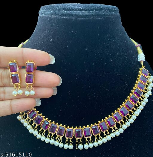 Classic Gems gold plated Nagmala Necklace set South Indian Fashion Jewellery  Pota Necklace set with earrings