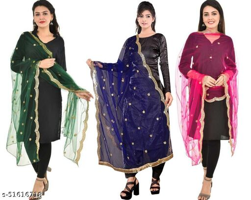 UNIQUE MART Fancy Dupatta in Net Fabric with Mirror work and Cut Work and Lace Border (Green-Navy Blue-Pink) Combo
