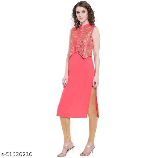 Grooves Rayon Kurti With Jacket
