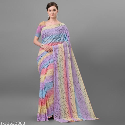 Dhruti Creation Net Jacquard Saree (Multi Color)