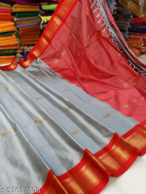 Yeola Traditional Paithani Silk Sarees With Contrast Blouse Piece (Grey & Red)