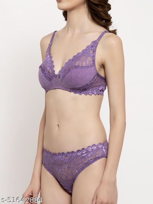 PrivateLifes wirefree  non  padded bra panty set