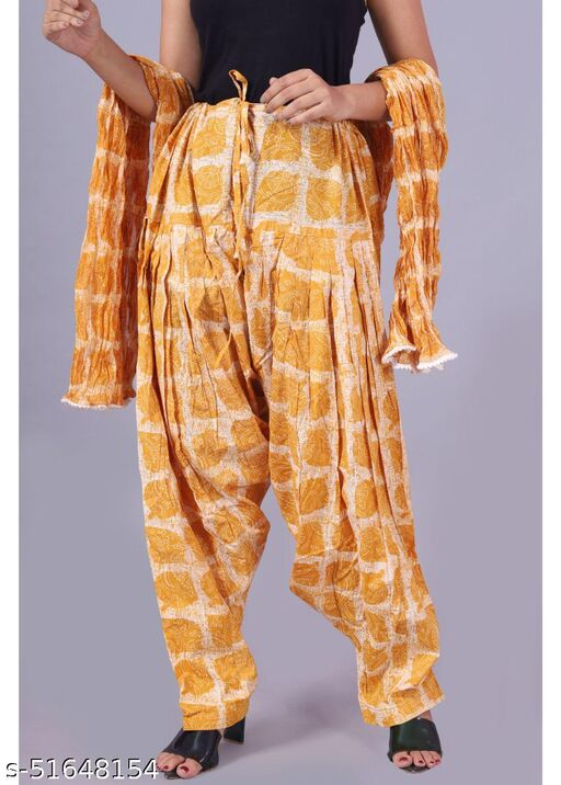 Women's Printed Cotton Patiala Salwar With Dupatta - Stitched