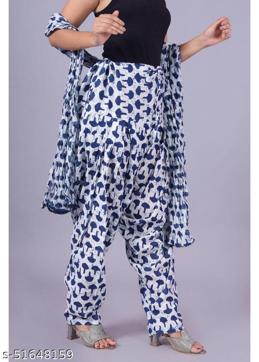 Women's Printed Cotton Patiala Salwar With Dupatta Set - Stitched