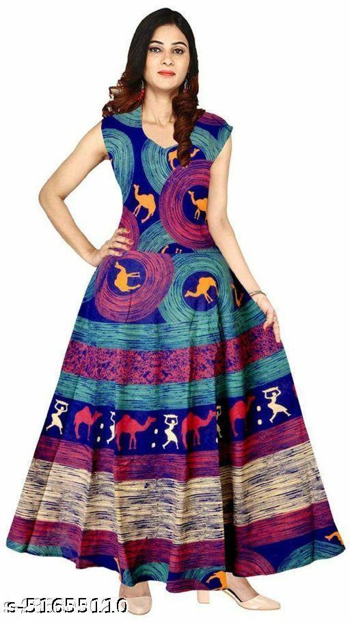 jaipuri 100% cotton free size gown ( middi frock )