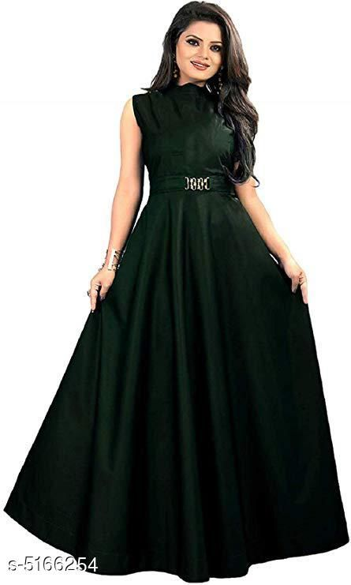 Women's Solid Green Satin Dress