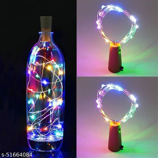 SomsKart 2 Meter 20 LED, Bottle Cork String Fairy Light With Copper Wire Battery Operated For DIY's Diwali Christmas, Birthday Party, Valentines Day (Multicolor) (Without Bottle) (Pack of 2) String Light