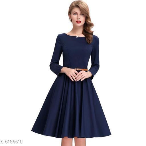 Solid Navy Blue Knee length Dress