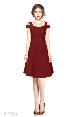 Solid Maroon Knee length Dress