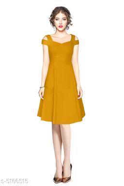 Solid Mustard Knee length Dress