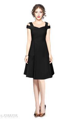 Solid Black Knee length Dress