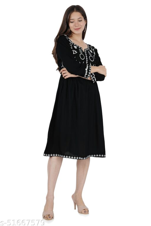 Garima Textile present/Embroidered/3-4 Sleeves/Rayon Fabric For Women Dresses