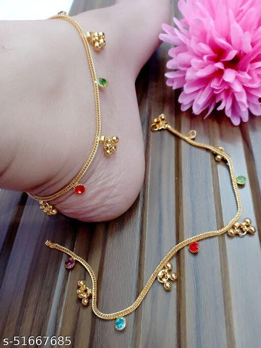 FANCY GOLD PLATED ANKLETS FOR DAILYWEAR