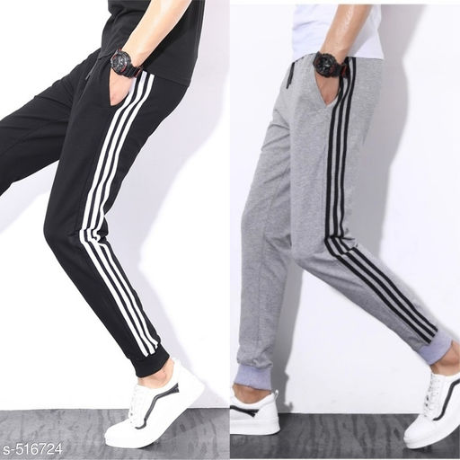 Men's Solid Poly Cotton   Track Pants Combo