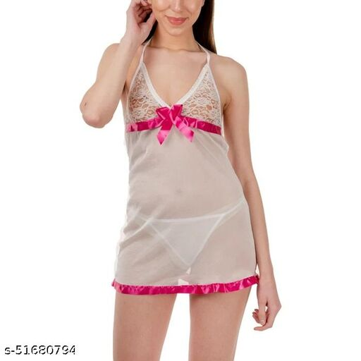 Babydoll Nighty Sleepwear for Girls - First Night, Honeymoon, Couple Romance in Net Fabric (Free Size)