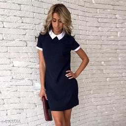 Women's Solid Navy Blue Cotton Dress