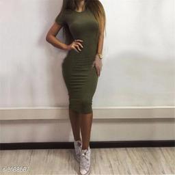 Women's Solid Bodycon Cotton Dress