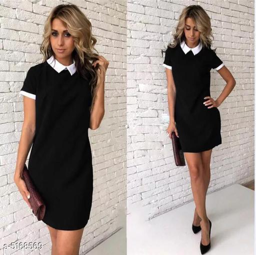 Women's Solid Black Cotton Dress