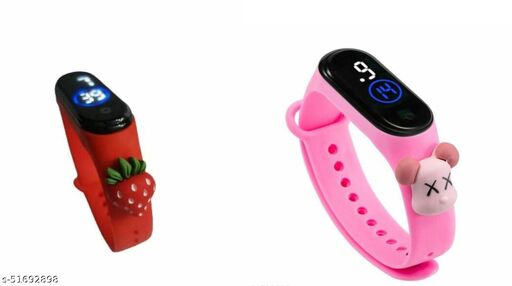 Combo of 2 Fancy Digital Watch M4 with teddy for kids, Red&Pink