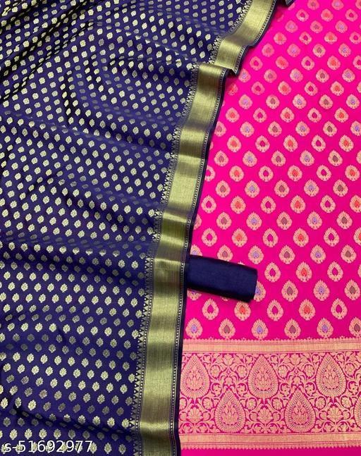 (6Pink) Weddings Special Banarsi Jaquard Multi Mina Contrass Silk Suit And Dress Material