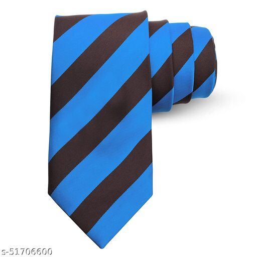 Panjatan Indigo and Brown Coloured Lines Patterned Microfiber Necktie For Men.(Width-3 Inch)…