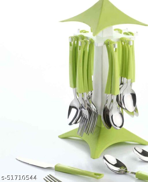 Premium Cutlery Set Stainless Steel Cuttlery Spoon Fork Set, 24-Pieces, (Moulticoloured)