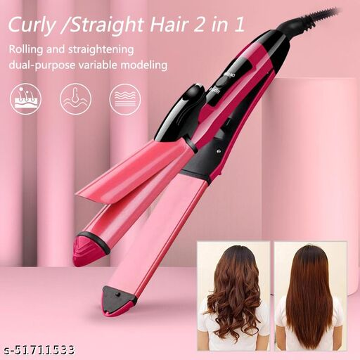 2 in 1 Hair Straightener and Curler( 2 in 1 Combo )   hair straightening machine, Beauty Set of Professional Hair Straightener Hair Straightener and Hair Curler with Ceramic Plate For Women (Pink)